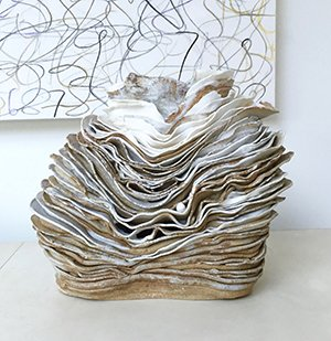 Sea Vessel | Stoneware, porcelain oxides, white glaze